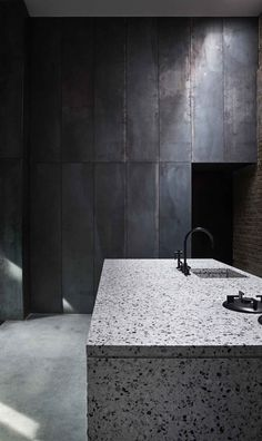 metal and terrazzo kitchen Peter's House in Copenhagen by Studio David Thulstrup | Yellowtrace