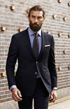 Men's Black Suit, Light Blue Chambray Dress Shirt, Black Vertical Striped Tie, White Pocket Square
