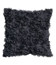 Charcoal grey. Satin cushion cover with decorative chiffon flowers and concealed zip. Size 16 x 16 in.