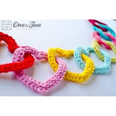 Garland of Colorful Hearts Crochet Pattern