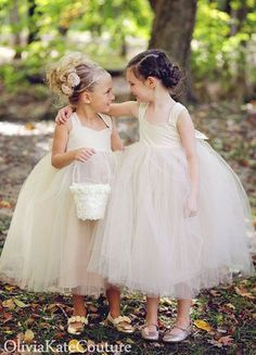 ❀ Flower Girl Frills ❀ dresses & hair accessories for the littlest wedding attendant :-) tutu style dresses by Olivia Kate Couture
