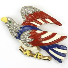 WW2 US Patriotic Gold Pave and Enamel Red White and Blue Eagle on Branch Bird Pin
