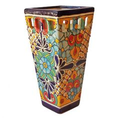 Beauty Mexican Pottery Design for Garden Accessories, Pots by Anthar Tall Square Pot