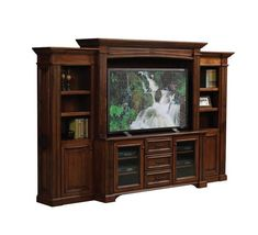 Amish Lincoln Entertainment Center with Side Bookcases Luxury Office Collection The Amish Lincoln Entertainment Center with Side Bookcases would make a president proud! No detail was spared in t