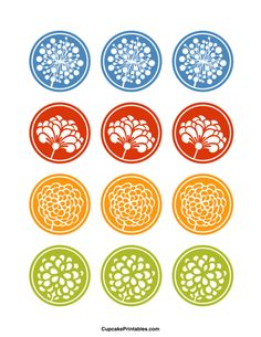 Flower cupcake toppers. Use the circles for cupcakes, party favor tags, and more. Free printable PDF download at http://cupcakeprintables.com/toppers/flower-cupcake-toppers/