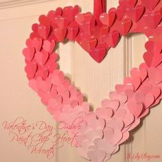 25. #Valentine Paint Chip #Heart Wreath - 29 #Crafty Things to do with #Paint Chips ... → DIY #Earrings