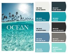 Instantly turn any picture into a palette with ColorSnap, created for you by Sherwin-Williams. Beach Paint Colors, Beach House Colors, Coastal Colors, Ocean Colors, Paint Colors For Home, Beach House Decor, Wall Colors, Interior Paint Colors, Turquoise Paint Colors