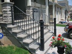 Outside Stair Railing - House looks more beautiful with different accessories found inside. Stair railing is one of the inland installations that enhance Outside Stair Railing, Porch Step Railing, Wrought Iron Porch Railings, Exterior Stair Railing, Front Porch Steps, Outdoor Stairs, Outdoor Railings, Garden Railings, Railing Ideas