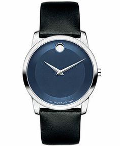 Movado Watch, Men's Swiss Museum Classic Black Calfskin Leather Strap 40mm 0606610