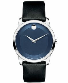 Movado Watch, Men's Swiss Museum Classic Black Calfskin Leather Strap 40mm 0606610