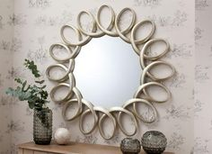 Contemporary Gallery Round Auckley Mirror with Silver Loop Effect Frame