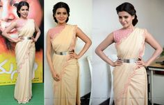 Wearing a Frou Frou by Archana Rao sari, Samantha attended the press meet of her movie 'Manam'. The beige sari with its scalloped edge isn't one you would call striking but in this case keeping the finishing touches simple helped.  She looked nice.