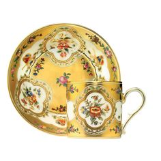 Litron cup & saucer - butterflies THE HISTORICAL CUPS AND SAUCERS COLLECTION Item code : 4519$ 460 The original cup, circa 1777, is kept at the Musée national de Céramique in Sèvres. Its rich design indicates a real stylistic change in Sèvres towards the end of the 18th century which marks the dicovery of hard porcelain.