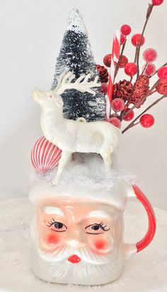 Vintage Santa Mug, Christmas Topiary, Vintage White Deer, Bottle Brush Tree, Holiday Decor, Red Whit Christmas Scenes, Christmas Door, Christmas Mugs, Retro Christmas, Country Christmas, All Things Christmas, Christmas Crafts, Christmas Decorations, Christmas Ornaments