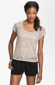 Painted Threads Scalloped Lace Tee (Juniors) available at #Nordstrom, #nordstromsweeps