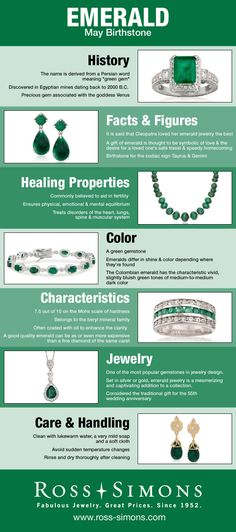 Learn about the history, facts, healing properties, color, characteristics and how to care for May's Birthstone, Emerald.