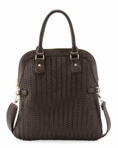 Foldover+Woven+Snake+Embossed+Tote,+Brown+by+Neiman+Marcus+at+Neiman+Marcus+Last+Call.