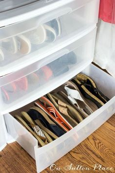 For a quick way to get double the storage space, organize flip flops and sandals on their sides. 16 Genius Shoe Storage Hacks If Your Closet Space Sucks