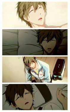 Makoto sleeping. My favorite is the one where he's leaning against the wall. *squee*
