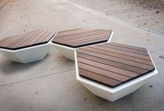Outdoor concrete stools with wood finish