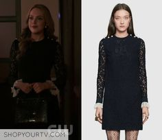 """Fallon Carrington wears this Gucci """"Clooney"""" black lace dress on Dynasty 1x05"""