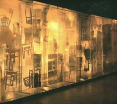 """Robert Rauschenberg. Soundings, 1968.    """"The construction consists of nine eight-foot high units, three layers deep of plexiglass panels. The outer panels are silvered. When the observer enters the room in which the construction is installed, he sees his own reflectionin the silvered panels. The work is electronically activated. What the viewer sees is dependent on his particular voice and the sounds he makes.  Activated by vocal frequencies converted to electronic impulses, lights turn on"""