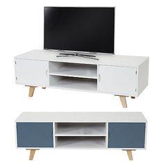 Lowboard Malm T256 TV Rack Fernsehtisch Retro Design 40x120x40cm Weiss Blau