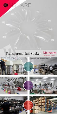 [Visit to Buy] MSHARE 500pcs Transparent Nail Art Sticker Tools Beauty Decorations for on Nail Stickers 10 Different Sizes #Advertisement