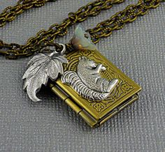 Antique Book Locket with Squirrel by ManoCelebrates