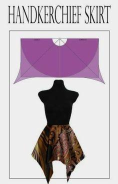 Handkerchief skirt pattern from full circle. More circle skirt patterns at the link. : Handkerchief skirt pattern from full circle. More circle skirt patterns at the link. Girl Dress Patterns, Coat Patterns, Blouse Patterns, Clothing Patterns, Skirt Patterns Sewing, Design Patterns, Circle Skirt Pattern, Circle Dress, Full Circle Skirts