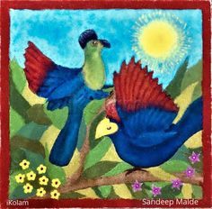 Turaco birds rangoli, by Sandeep Malde, iKolam. Diwali 2018, Rangoli Designs, Cool Designs, African, Birds, Painting, Inspiration, Art, Biblical Inspiration
