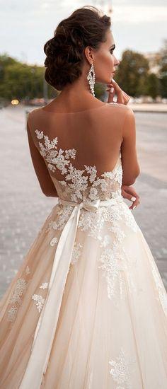 Milla Nova illusion back vintage lace wedding dress #laceweddingdresses