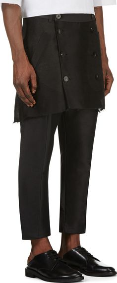 Thamanyah Black Button Front Trench Trousers