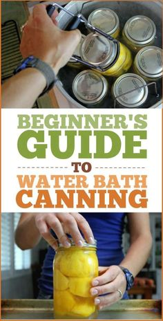 A Beginner's Guide to Water Bath Canning: How to can what equipment you need and a big list of common canning recipes! A Beginner's Guide to Water Bath Canning: How to can what equipment you need and a big list of common canning recipes! Canning Tips, Home Canning, Pressure Canning Recipes, Easy Canning, Canning Food Preservation, Preserving Food, Konservierung Von Lebensmitteln, Frugal Living Nw, Carbonate De Calcium