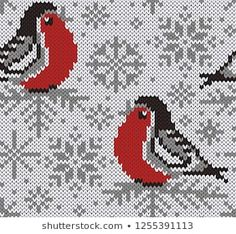 Winter snowy background with cute birds and snowflakes. Jumper Knitting Pattern, Knitting Charts, Knitting Stitches, Knitting Designs, Knitting Projects, Knitting Patterns, Frozen Cross Stitch, Cross Stitch Bird, Cross Stitch Embroidery