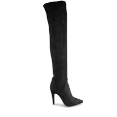 Crafted from silky, suede-look black microfibre, this plush stretchy textile ensures Tammy fits most calf sizes with ease. With a 10cm* stiletto heel and delicate almond toe, these dramatic over the knee boots are beyond stunning.  Textile Outer Padded