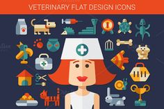 Veterinary Flat Design Icons by Decorwith.me Shop on Creative Market