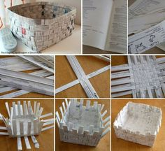 As cestas decoram, organizam, mas nem sempre tem preços acessíveis. {DIY} Paper Basket Tutes and Linksmulti-purpose basket from 4 200 Cheap And Easy Dollar Store Crafts That You canUse The Old News Papers To Make Beautiful Useful B Paper Basket Diy, Newspaper Basket, Newspaper Crafts, Recycled Magazines, Recycled Crafts, Papier Diy, Diy Crafts How To Make, Diy Y Manualidades, Magazine Crafts