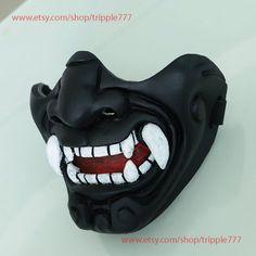 Samurai Cosplay Airsoft Mask Halloween Costume Oni Demon Evil Nail Art s-club ll nail art - # Kitsune Mask, Oni Mask, Skull Mask, Mascara Oni, Japanese Demon Mask, Maske Halloween, Cosplay Steampunk, Oni Demon, Ninja Mask