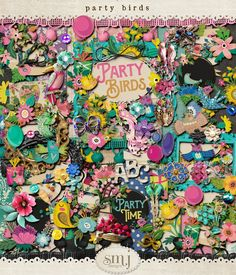 Party Birds Bird Free, Bird Party, Spring Photos, Love Birds, Our Love, Collages, Party Time, Shabby, Scrapbooking
