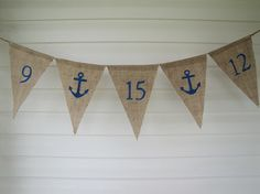 Save The Date Anchor Wedding Glittered Burlap by funkyshique, $32.00