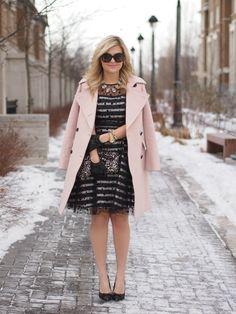 1.14 pink lady (Club Monaco jacket + Eliza J dress + Emerald Bling necklace + Kate Spade pumps + H&M clutch + Celine sunnies + ASOS gloves + J Crew bracelet)