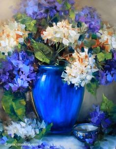 floralart.quenalbertini: New Day Blue Hydrangeas by Nancy Medina Art