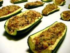 Stuffed zucchini -- this sounds amazing! might be able to play around with the stuffing ingredients too!