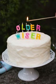 "Cute birthday candles that spell out ""older"" and ""wiser."" Fun for a milestone birthday party! Happy Birthday To You, Celebrate Good Times, Adult Birthday Party, Cake Birthday, Festa Party, Party Decoration, Throw A Party, Creative Cakes, Let Them Eat Cake"