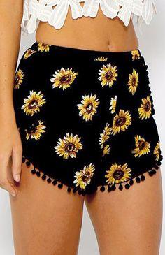 Shorts Mulheres Black Beach Pom Pom Bola Tassel girassol impressão Curto Feminino Sexy cintura elástica