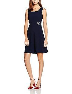 16, Blue (Navy Blue), Dorothy Perkins Women's Square Neck Fit and Flare Dress NE