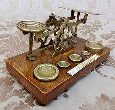 ANTIQUE BRASS ENGLISH POSTAL BALANCE SCALE W/ WEGHTS LONDON C 1880 S.MORDAN & CO