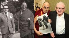 Cestovatel Miloslav Stingl s dalajlámou v roce 1974 (vlevo) a v roce 2016