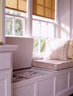 Window seat with built-in file storage for office - or put drawers in window seat instead of lift up top